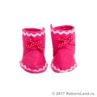 Сапожки для кукол из фетра розовые (артикул 382)